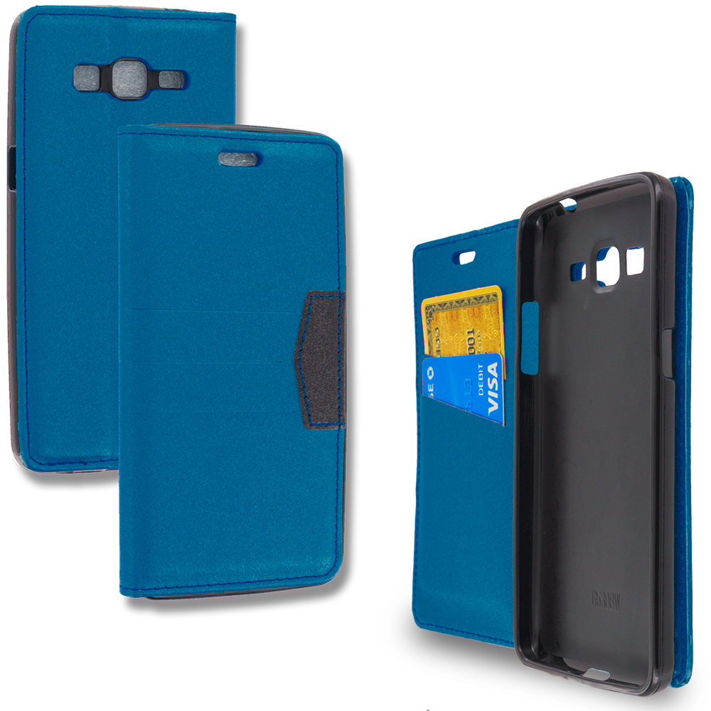 Samsung Galaxy Grand Prime LTE G530 Navy Blue Wallet Flip Leather Pouch Case Cover with ID Card Slots