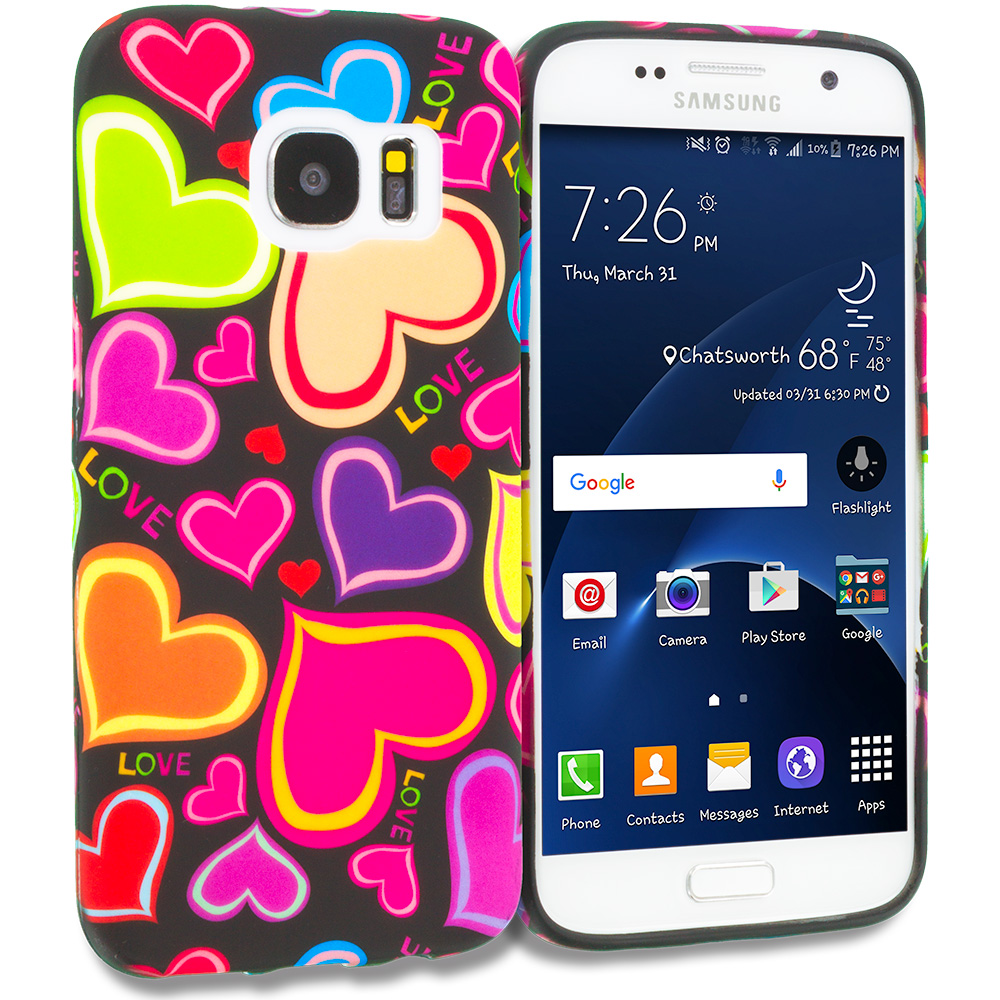Samsung Galaxy S7 Combo Pack : Rainbow Hearts Black TPU Design Soft Rubber Case Cover : Color Rainbow Hearts Black