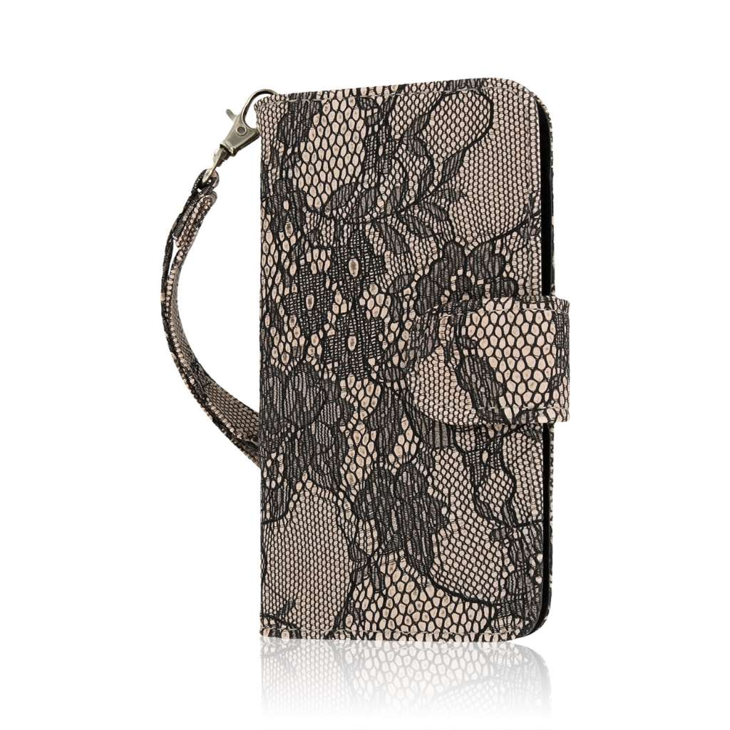Nokia Lumia 635 - Black Lace MPERO FLEX FLIP Wallet Case Cover