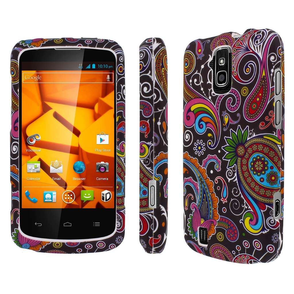 ZTE Force - Black Paisley MPERO SNAPZ - Rubberized Case Cover
