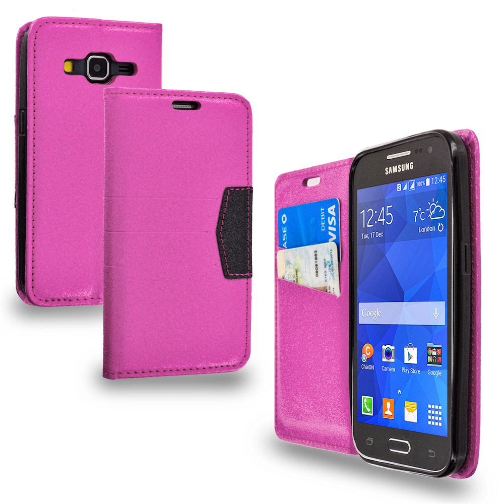 Samsung Galaxy Prevail LTE Core Prime G360P Hot Pink Wallet Flip Leather Pouch Case Cover with ID Card Slots