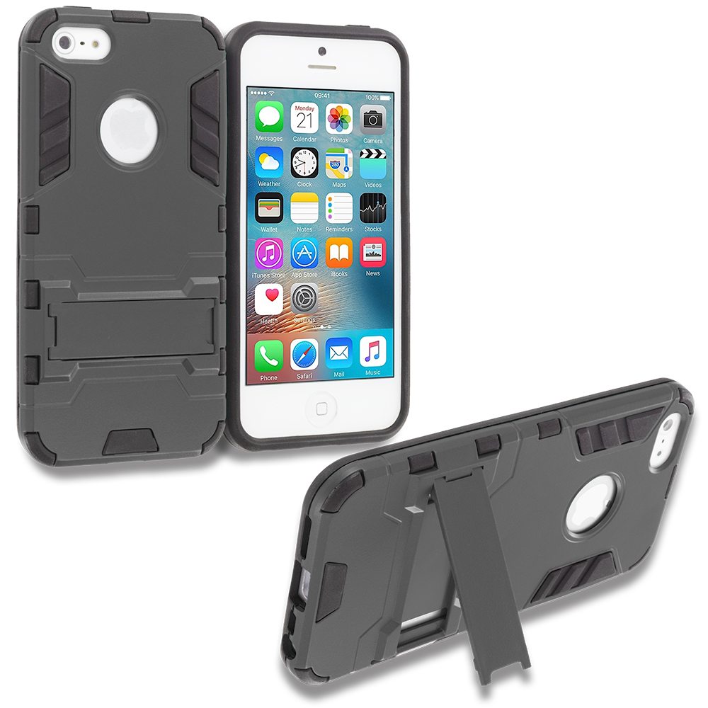 Apple iPhone 5/5S/SE Black Hybrid Transformer Armor Slim Shockproof Case Cover Kickstand