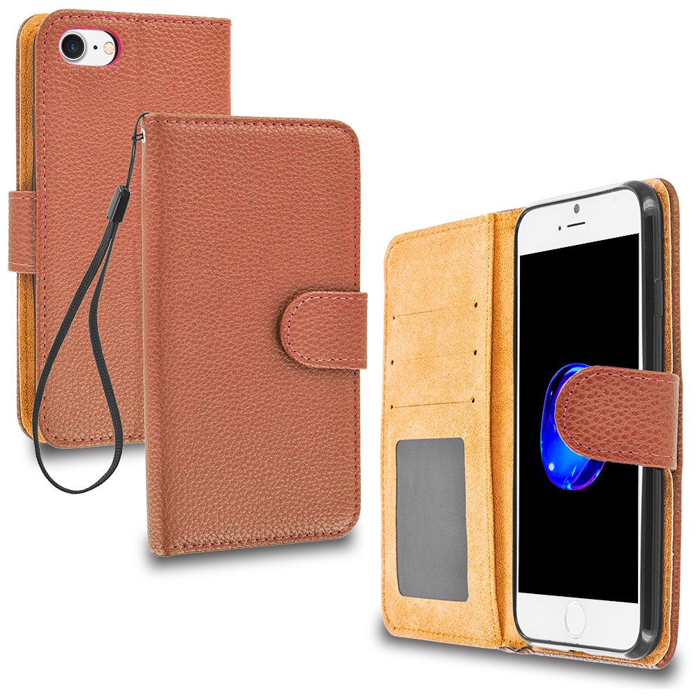 Apple iPhone 7 Plus Brown Leather Wallet Pouch Case Cover with Slots