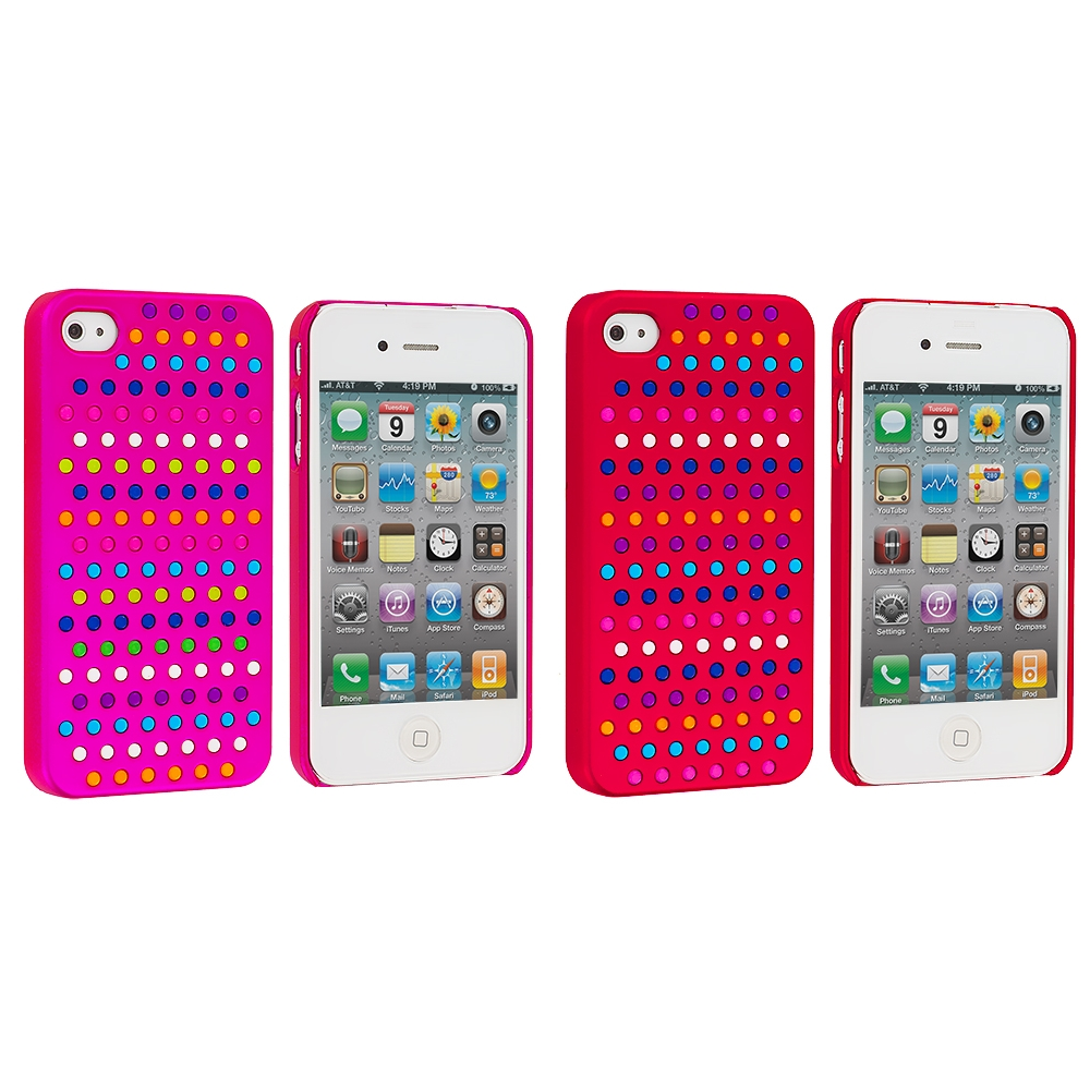 Apple iPhone 4 / 4S 2 in 1 Combo Bundle Pack - Rainbow Hot Pink Red Hard Rubberized Back Cover Case
