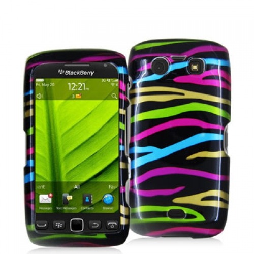BlackBerry Torch 9850 9860 Rainbow Zebra on Black Design Crystal Hard Case Cover