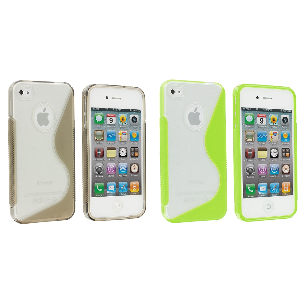 Apple iPhone 4 / 4S 2 in 1 Combo Bundle Pack - Clear / Smoke S-Line TPU Rubber Skin Case Cover