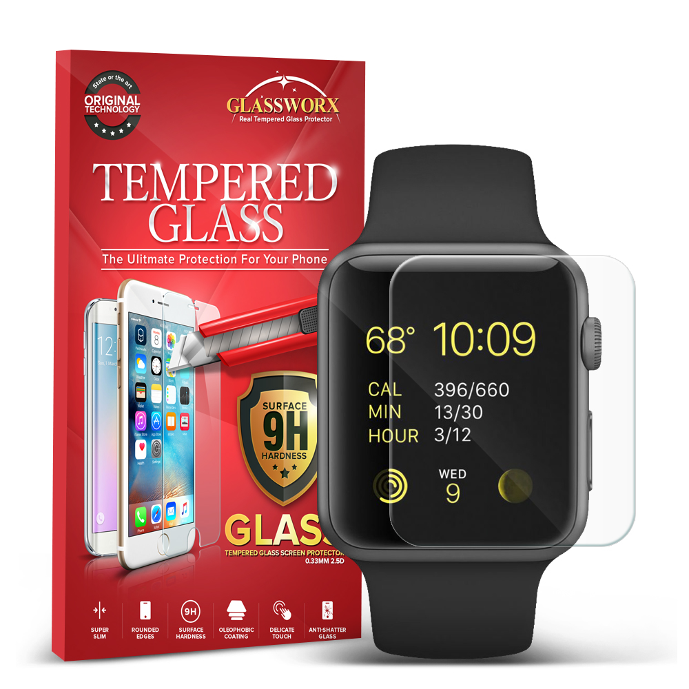 Apple Watch 42mm Clear GlassWorX HD Tempered Glass Screen Protector