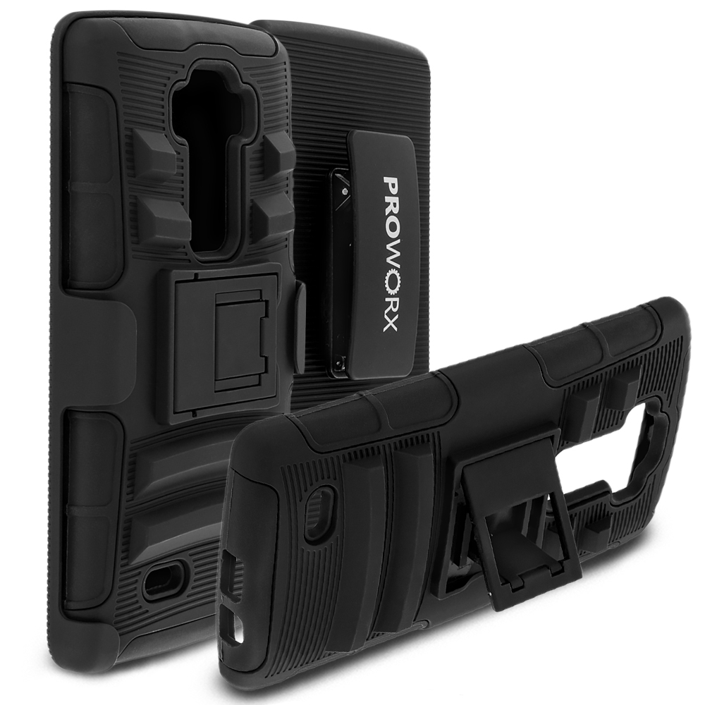 LG G Flex 2 ProWorx Black Heavy Duty Shock Absorption Armor Defender Case Cover With Belt Clip Holster