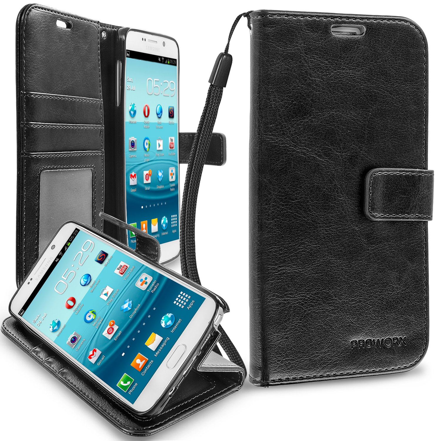 Samsung Galaxy Note 5 Black ProWorx Wallet Case Luxury PU Leather Case Cover With Card Slots & Stand