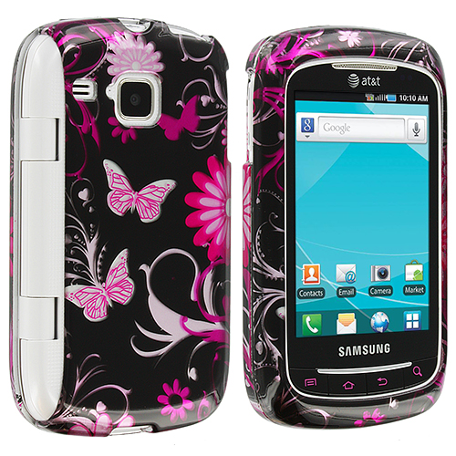 Samsung Doubletime i857 Pink Butterfly Flowers Design Crystal Hard Case Cover