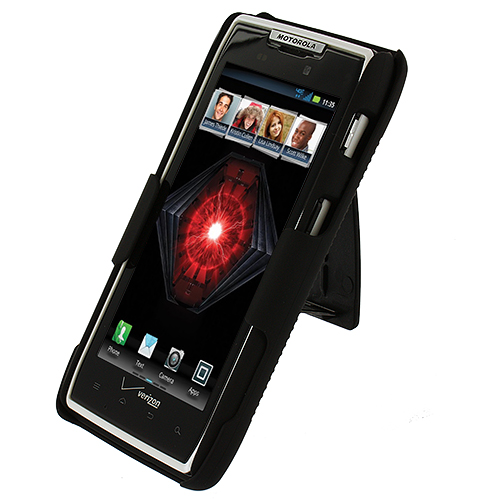 Motorola Droid Razr XT912 Black Hard Rubberized Belt Clip Holster Case Cover