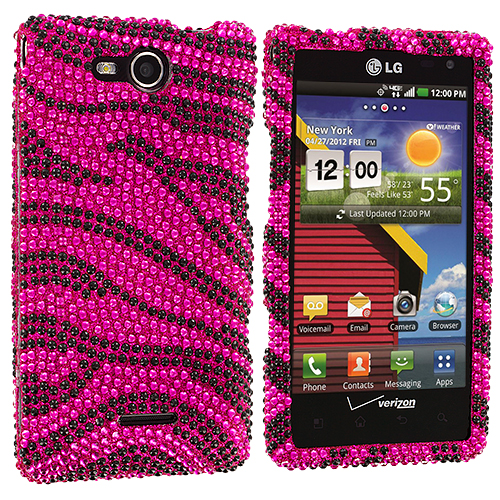 LG Lucid VS840 Black / Hot Pink Zebra Bling Rhinestone Case Cover