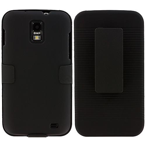Samsung Skyrocket i727 Black Hard Rubberized Belt Clip Holster Case Cover