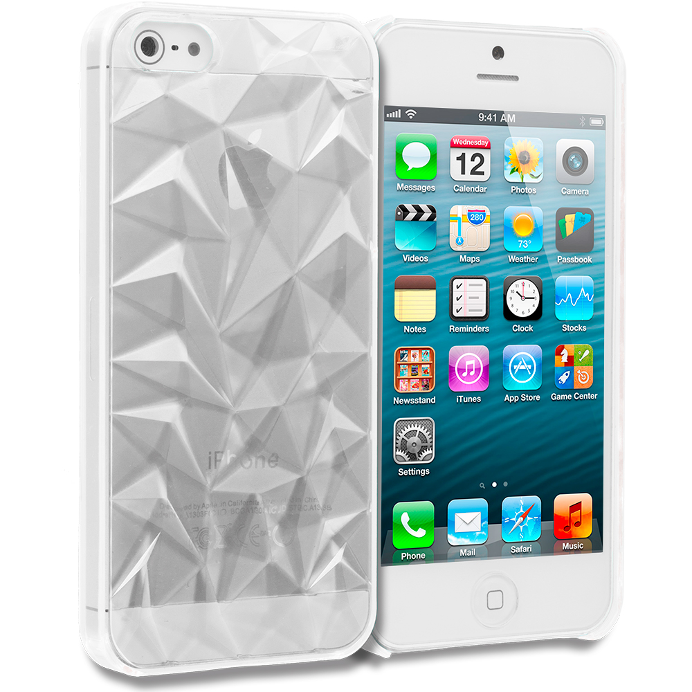 Apple iPhone 5/5S/SE 5 in 1 Combo Bundle Pack - Diamond Crystal Hard Back Cover Case : Color Clear Diamond