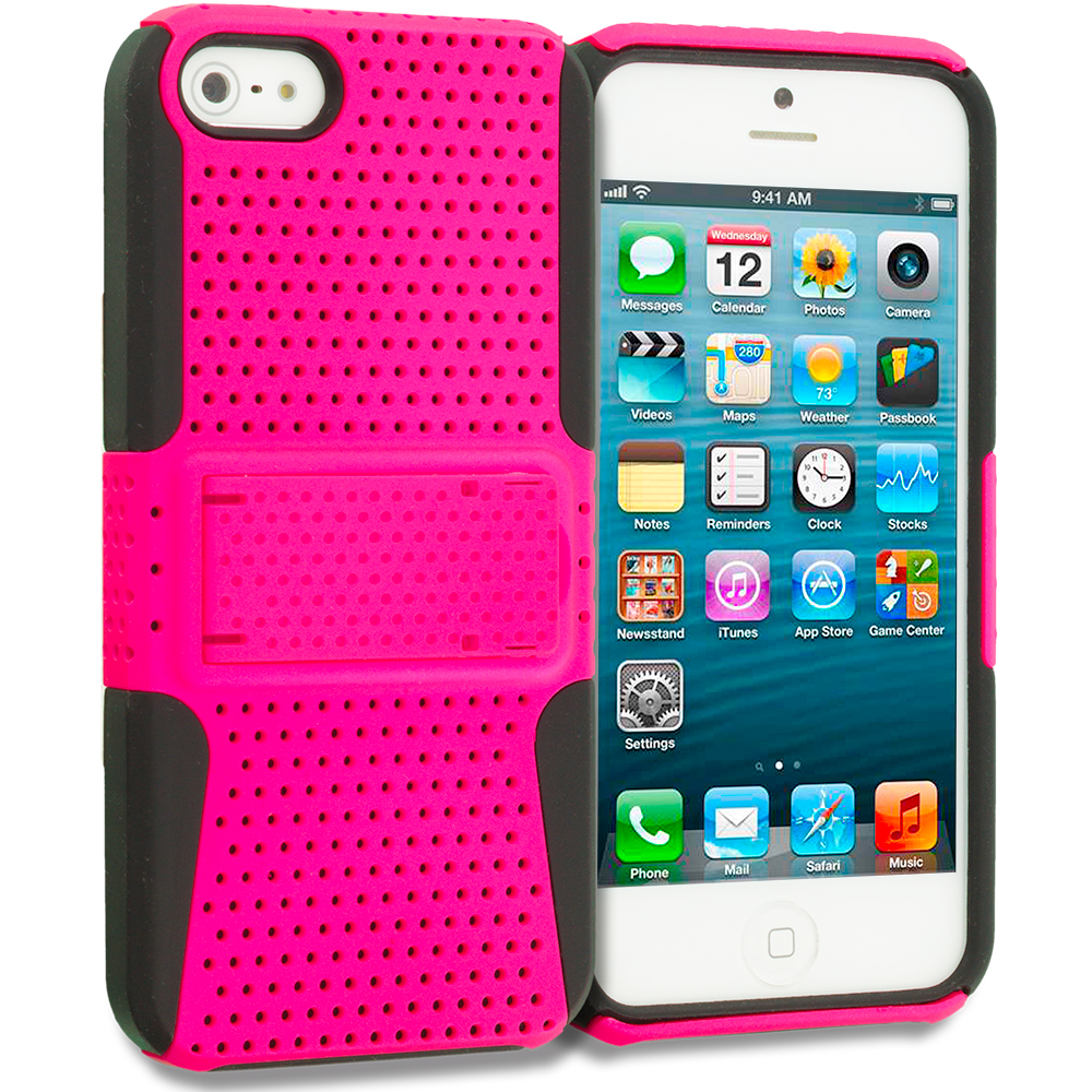 Apple iPhone 5/5S/SE Combo Pack : Black / Hot Pink Hybrid Mesh Hard/Soft Case Cover with Stand : Color Black / Hot Pink