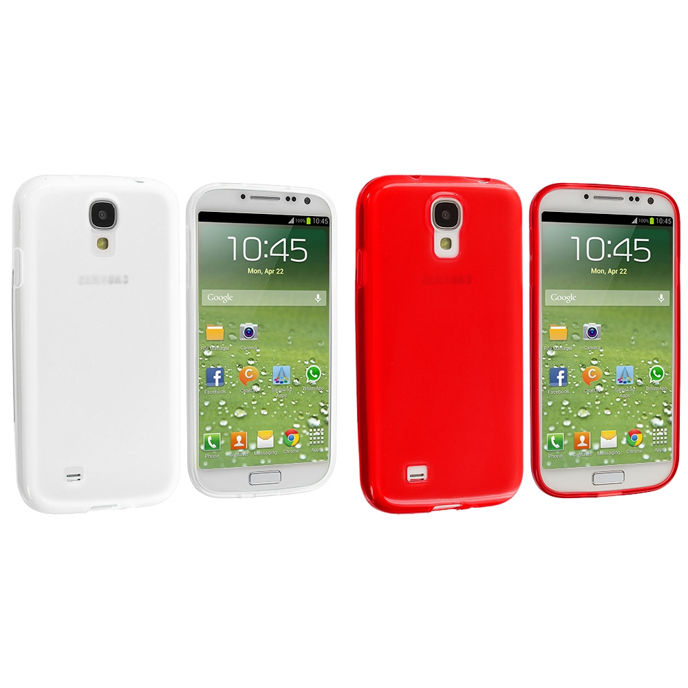 Samsung Galaxy S4 2 in 1 Combo Bundle Pack - Clear Red Plain TPU Rubber Skin Case Cover