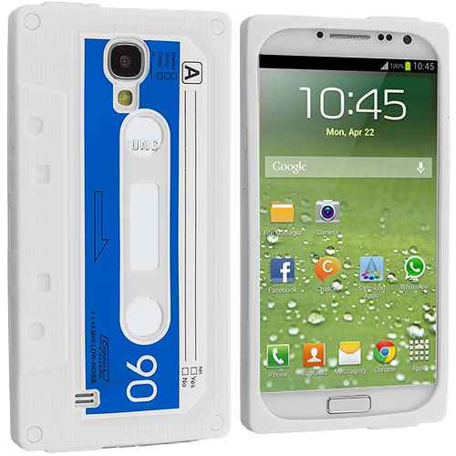 Samsung Galaxy S4 White Cassette Silicone Soft Skin Case Cover