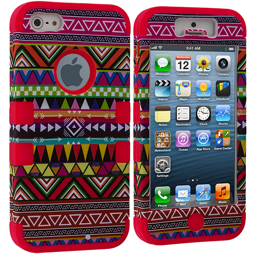 Apple iPhone 5/5S/SE Combo Pack : Red Tribal Hybrid Tuff Hard/Soft 3-Piece Case Cover : Color Red Tribal