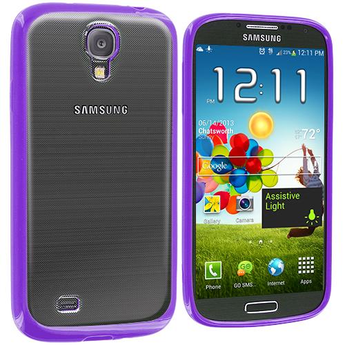 Samsung Galaxy S4 Purple TPU Plastic Hybrid Case Cover