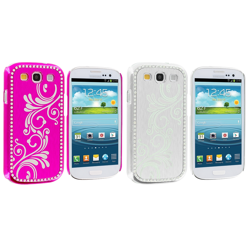 Samsung Galaxy S3 2 in 1 Combo Bundle Pack - Hot Pink White Diamond Luxury Flower Case Cover