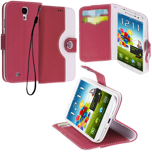 Samsung Galaxy S4 Hot Pink / White Leather Wallet Pouch Case Cover with Slots
