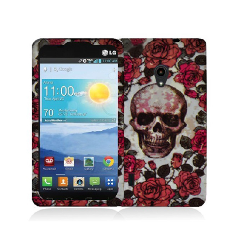 LG Lucid 2 VS870 Gorgeous Skull Hard Rubberized Design Case Cover