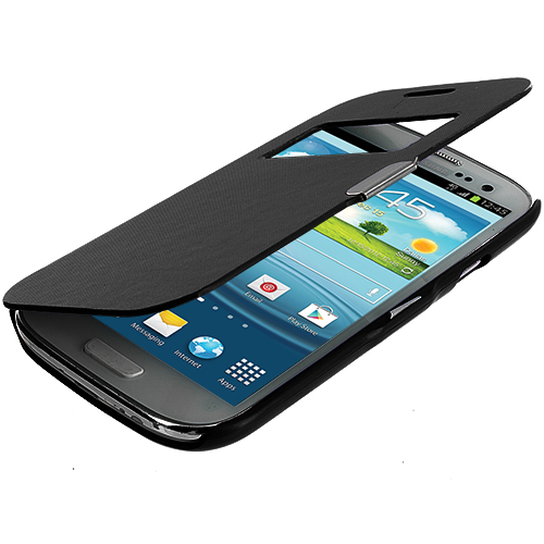 Samsung Galaxy S3 Black Texture (Open) Magnetic Wallet Case Cover Pouch