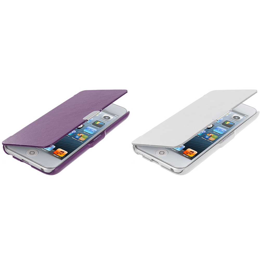 Apple iPod Touch 5th 6th Generation 2 in 1 Combo Bundle Pack - White Purple Texture Magnetic Wallet Case Cover Pouch