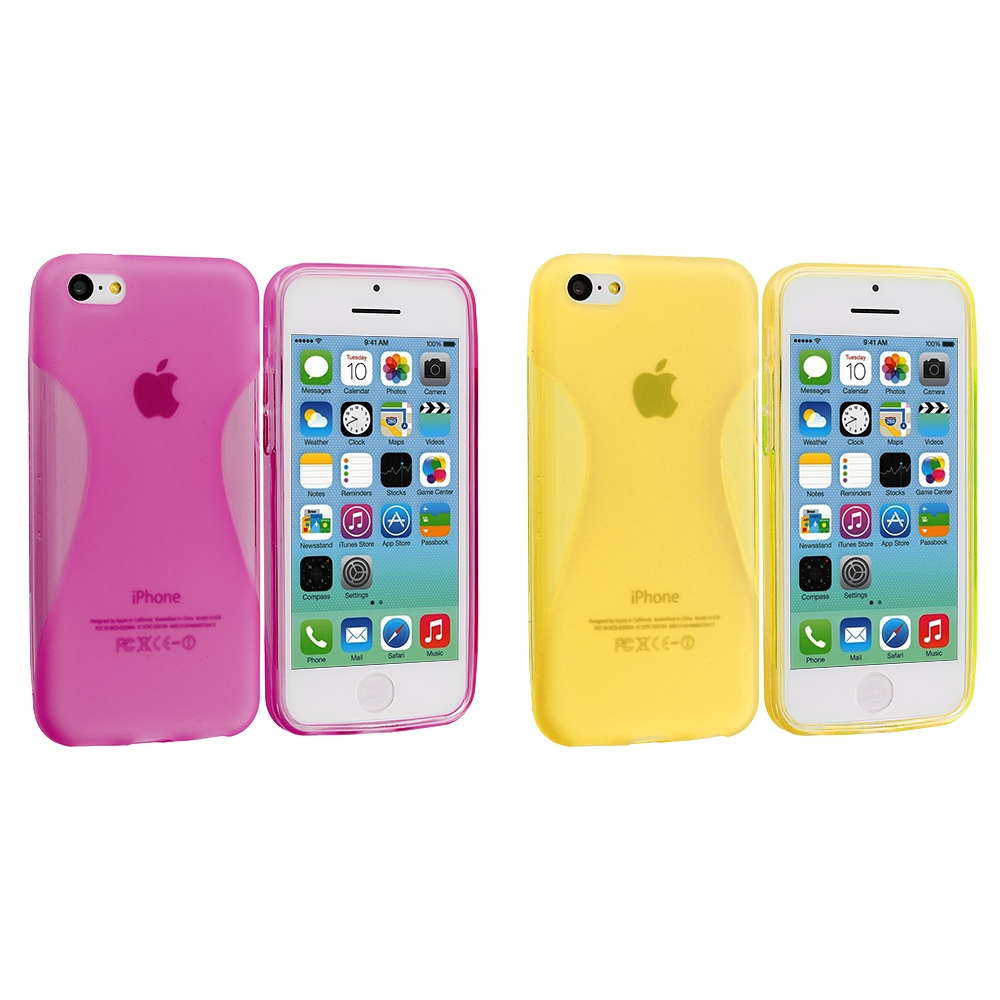 Apple iPhone 5C 2 in 1 Combo Bundle Pack - Hot Pink Yellow Slim TPU Rubber Skin Case Cover