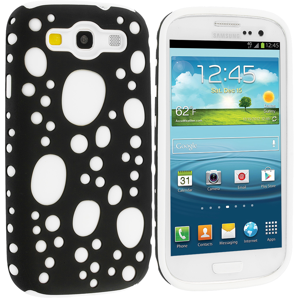 Samsung Galaxy S3 Black / White Hybrid Bubble Hard/Soft Skin Case Cover