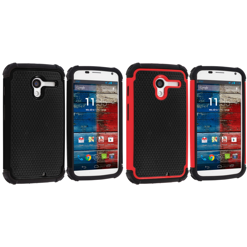 Motorola Moto X 2 in 1 Combo Bundle Pack - Black / Red Hybrid Rugged Hard/Soft Case Cover
