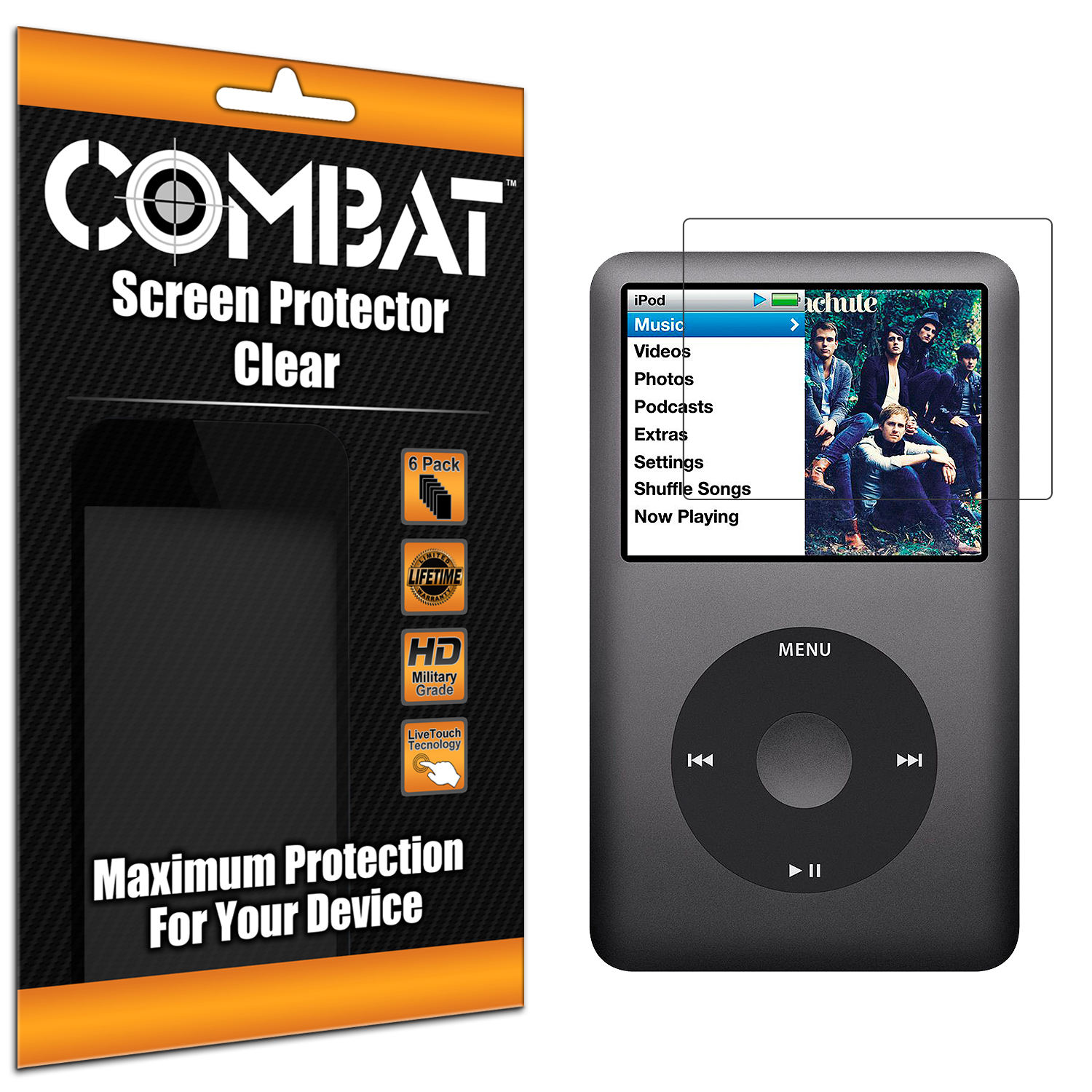 Apple iPod Classic Combat 6 Pack HD Clear Screen Protector