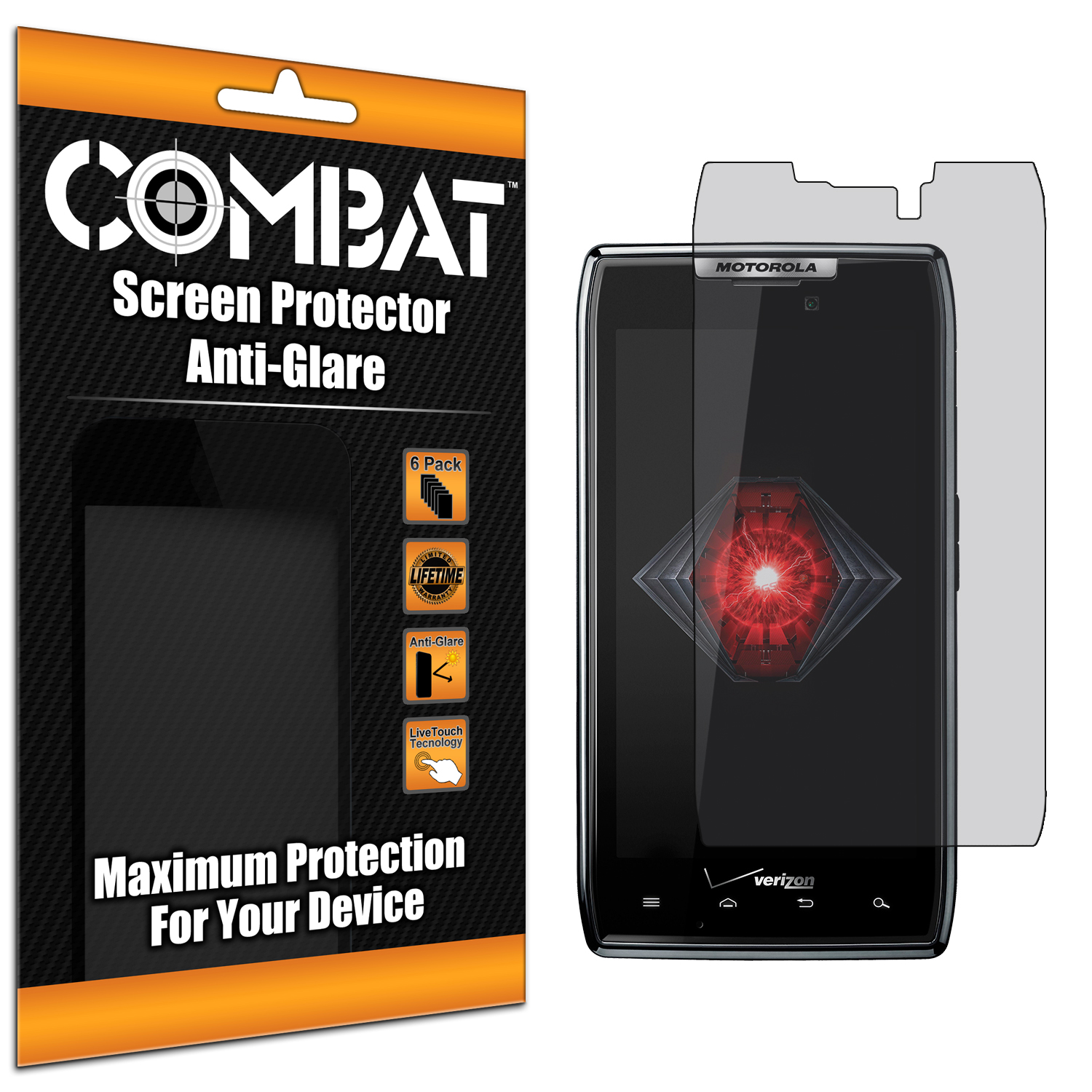 Motorola Droid Razr XT912 Combat 6 Pack Anti-Glare Matte Screen Protector