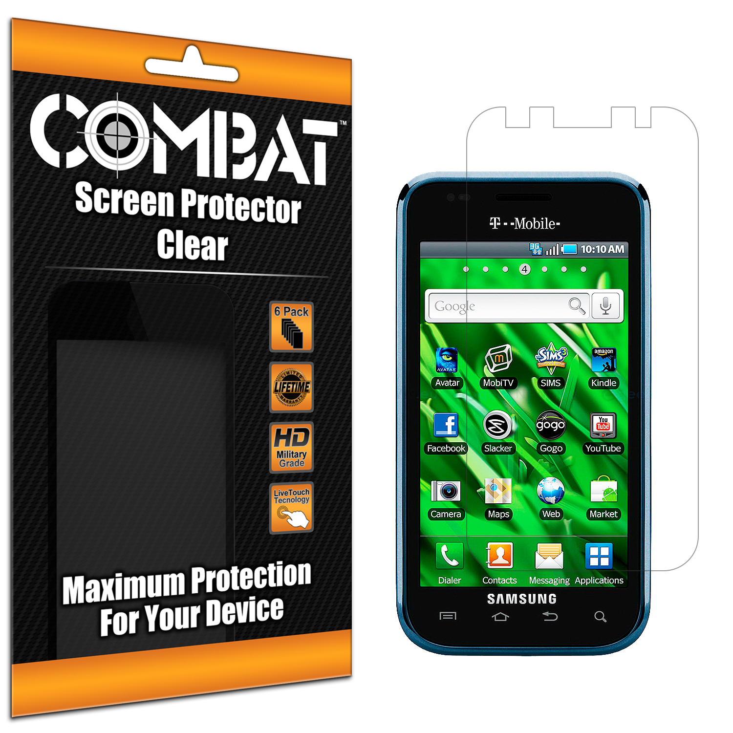 Samsung Vibrant SCH-T959 Combat 6 Pack HD Clear Screen Protector