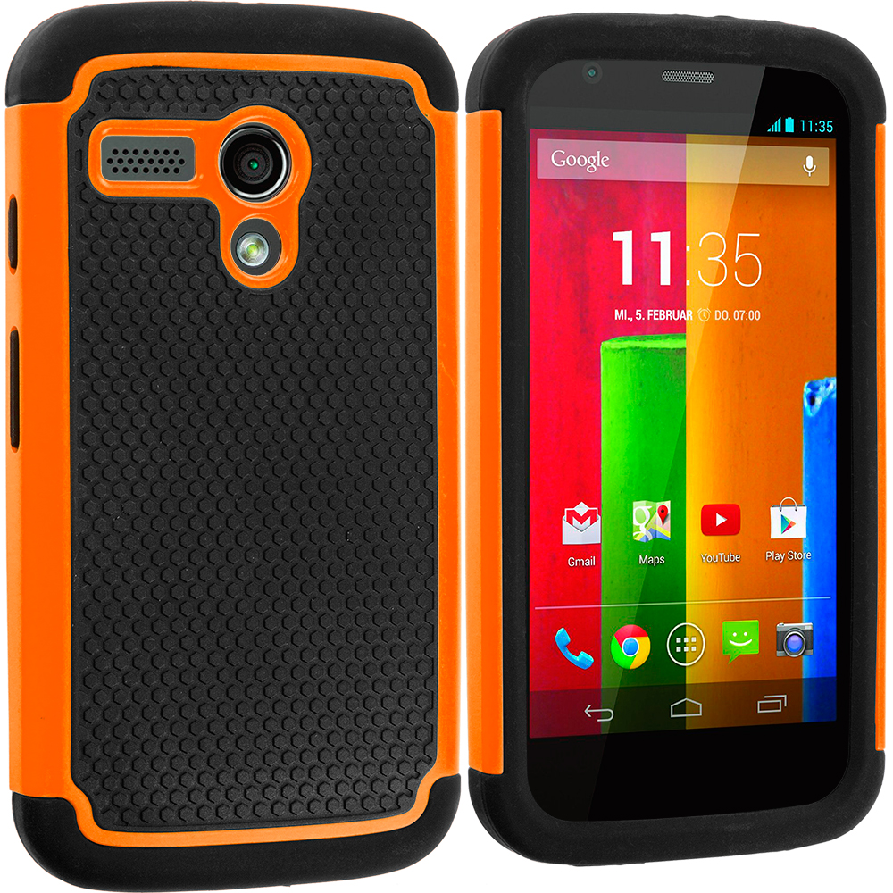 Motorola Moto G 2 in 1 Combo Bundle Pack - Black / Orange Hybrid Rugged Hard/Soft Case Cover : Color Black / Orange