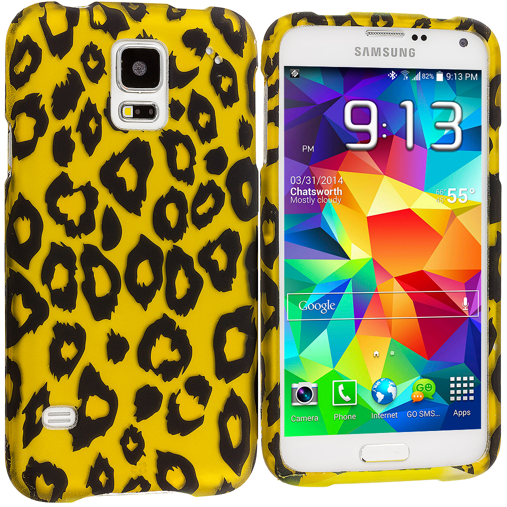 Samsung Galaxy S5 Black Leopard on Golden 2D Hard Rubberized Design Case Cover