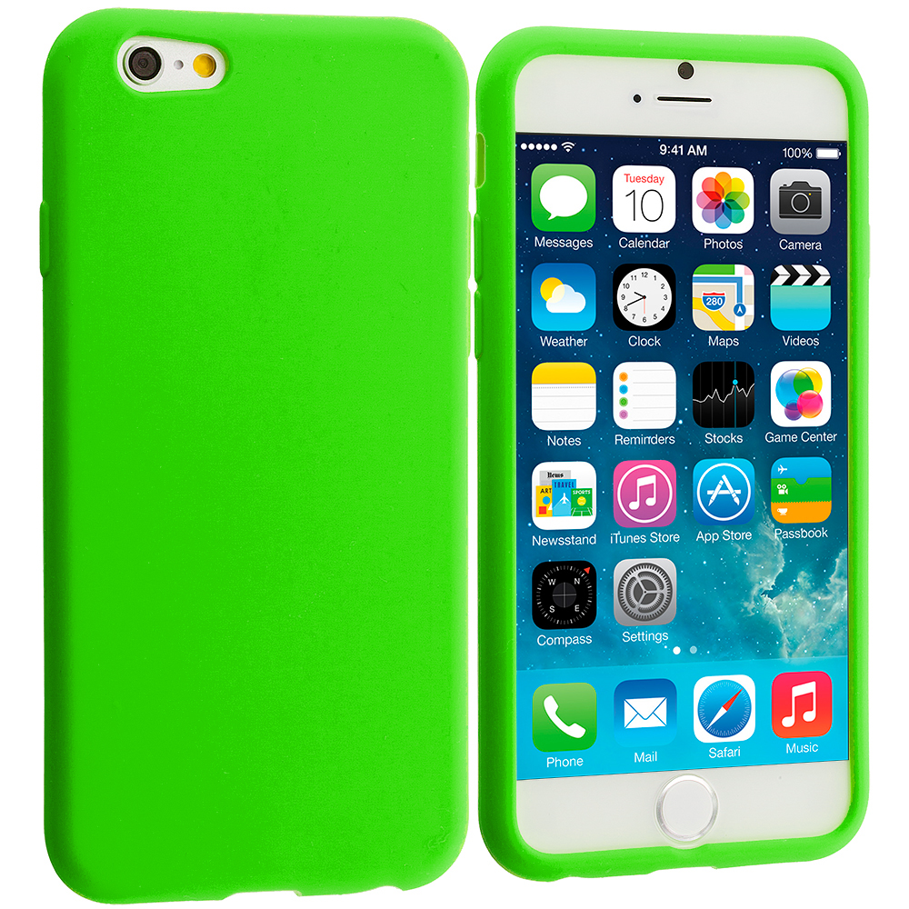 Apple iPhone 6 6S (4.7) 9 in 1 Combo Bundle Pack - Silicone Soft Skin Case Cover : Color Dark Green