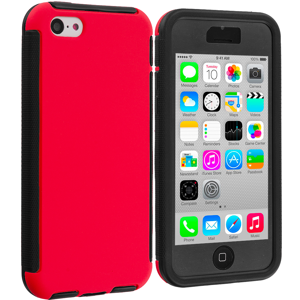 Apple iPhone 5C 2 in 1 Combo Bundle Pack - Black / Red Hybrid Hard TPU Shockproof Case Cover With Built in Screen Protector : Color Black / Red