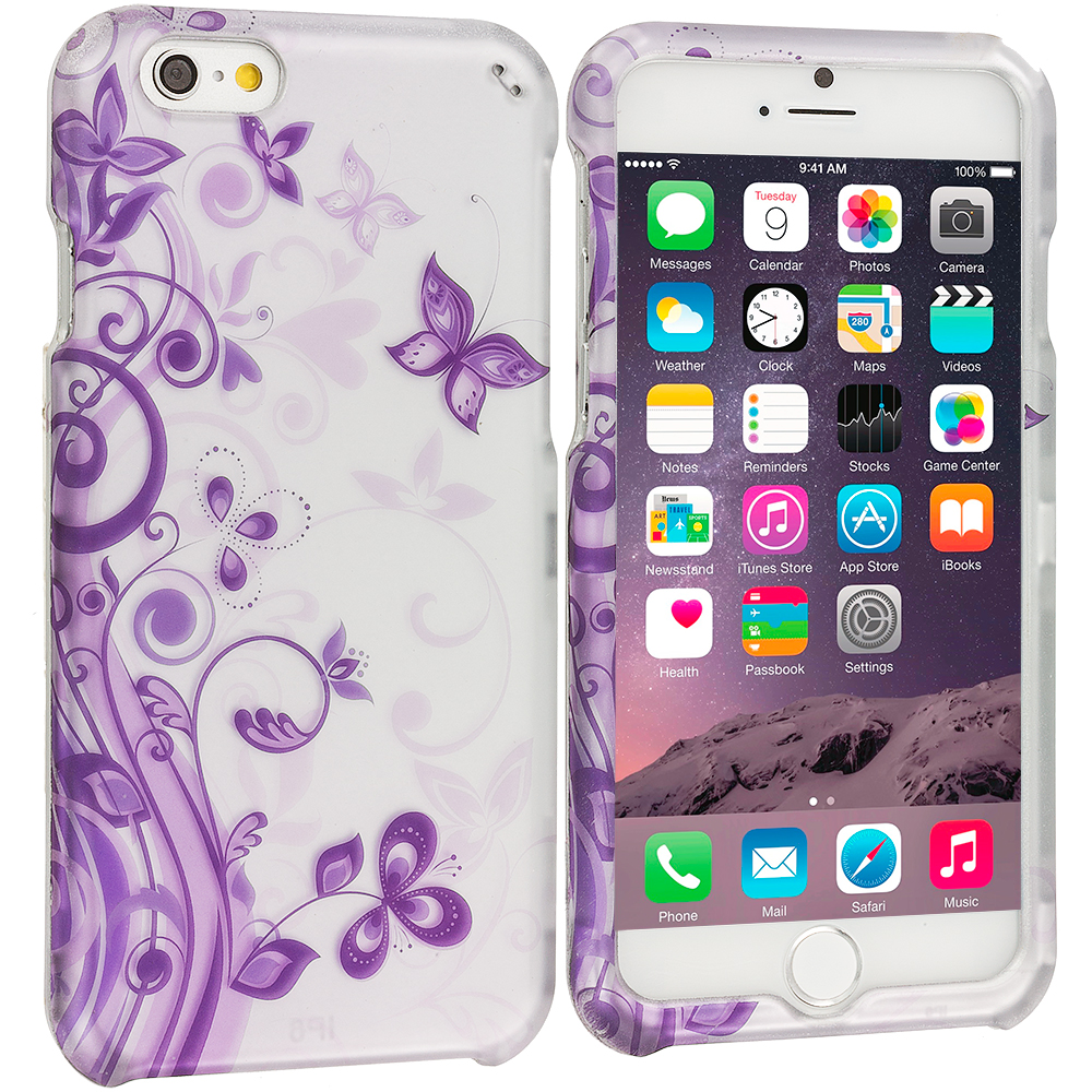 Apple iPhone 6 Plus 6S Plus (5.5) Purple Swirl 2D Hard Rubberized Design Case Cover