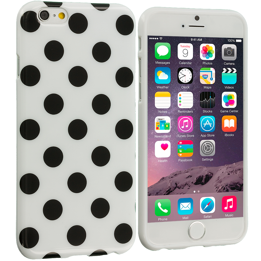 Apple iPhone 6 Plus 6S Plus (5.5) White / Black TPU Polka Dot Skin Case Cover
