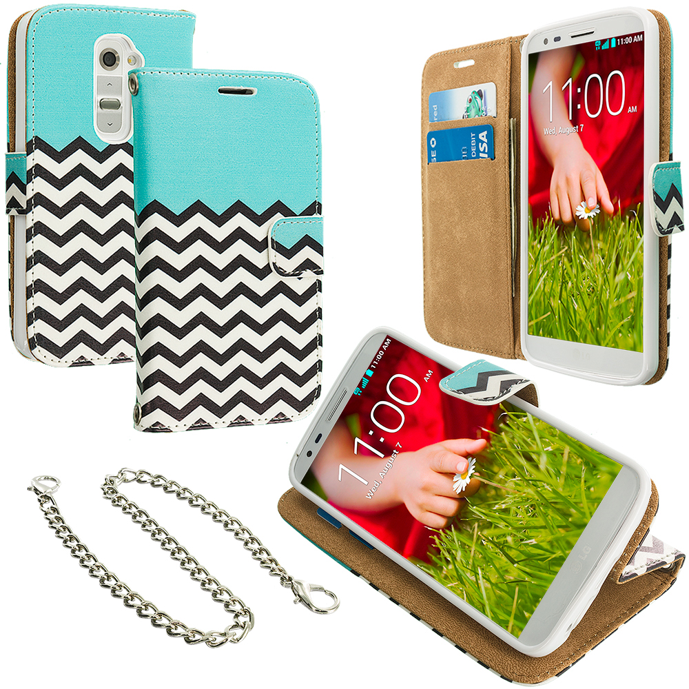 LG G2 Sprint, T-Mobile, At&t Mint Green Zebra Leather Wallet Pouch Case Cover with Slots