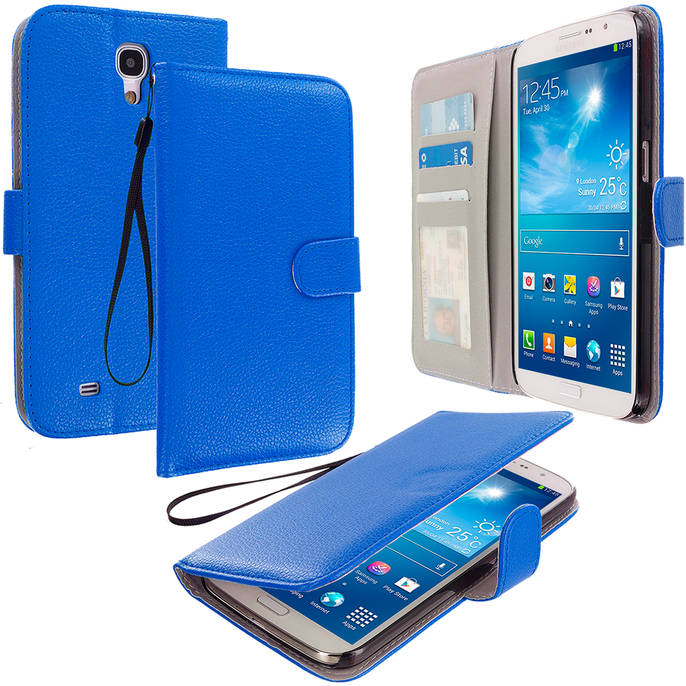 Samsung Galaxy Mega 6.3 Blue Leather Wallet Pouch Case Cover with Slots