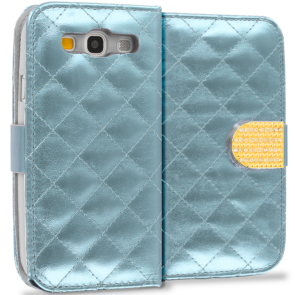 Samsung Galaxy S3 White Luxury Wallet Diamond Design Case Cover With Slots