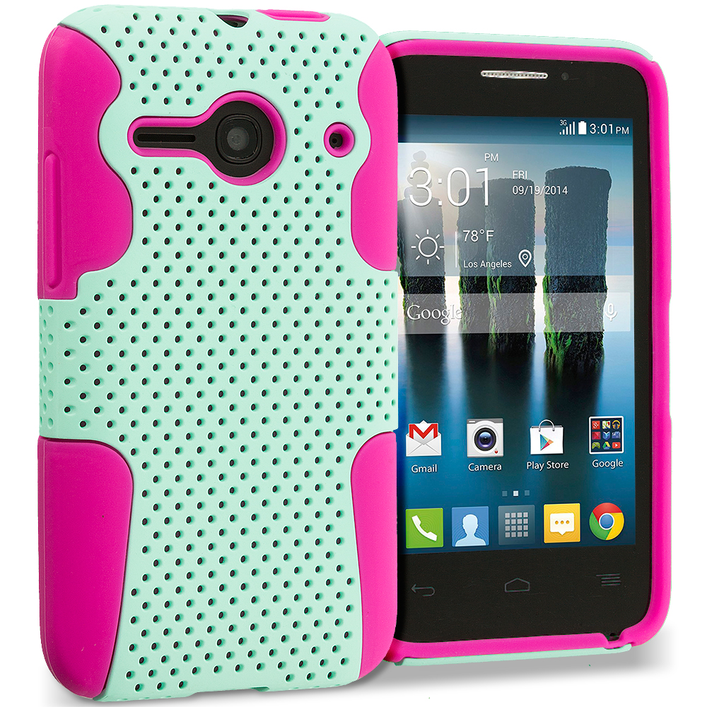 Alcatel One Touch Evolve 2 Hot Pink / Mint Green Hybrid Mesh Hard/Soft Case Cover