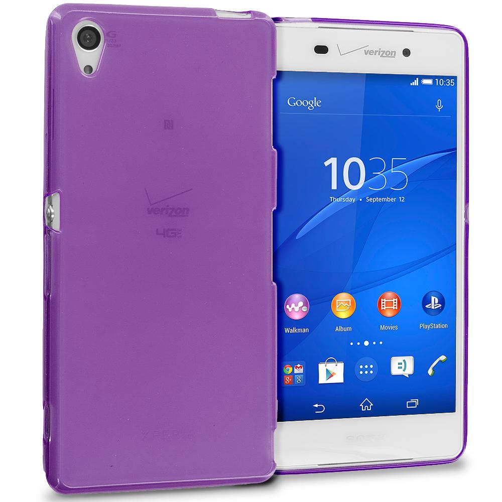 Sony Xperia Z3 Purple TPU Rubber Skin Case Cover