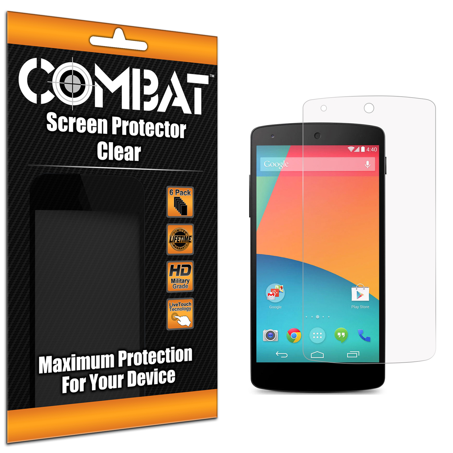 Motorola Google Nexus 6 Clear Combat 6 Pack HD Clear Screen Protector
