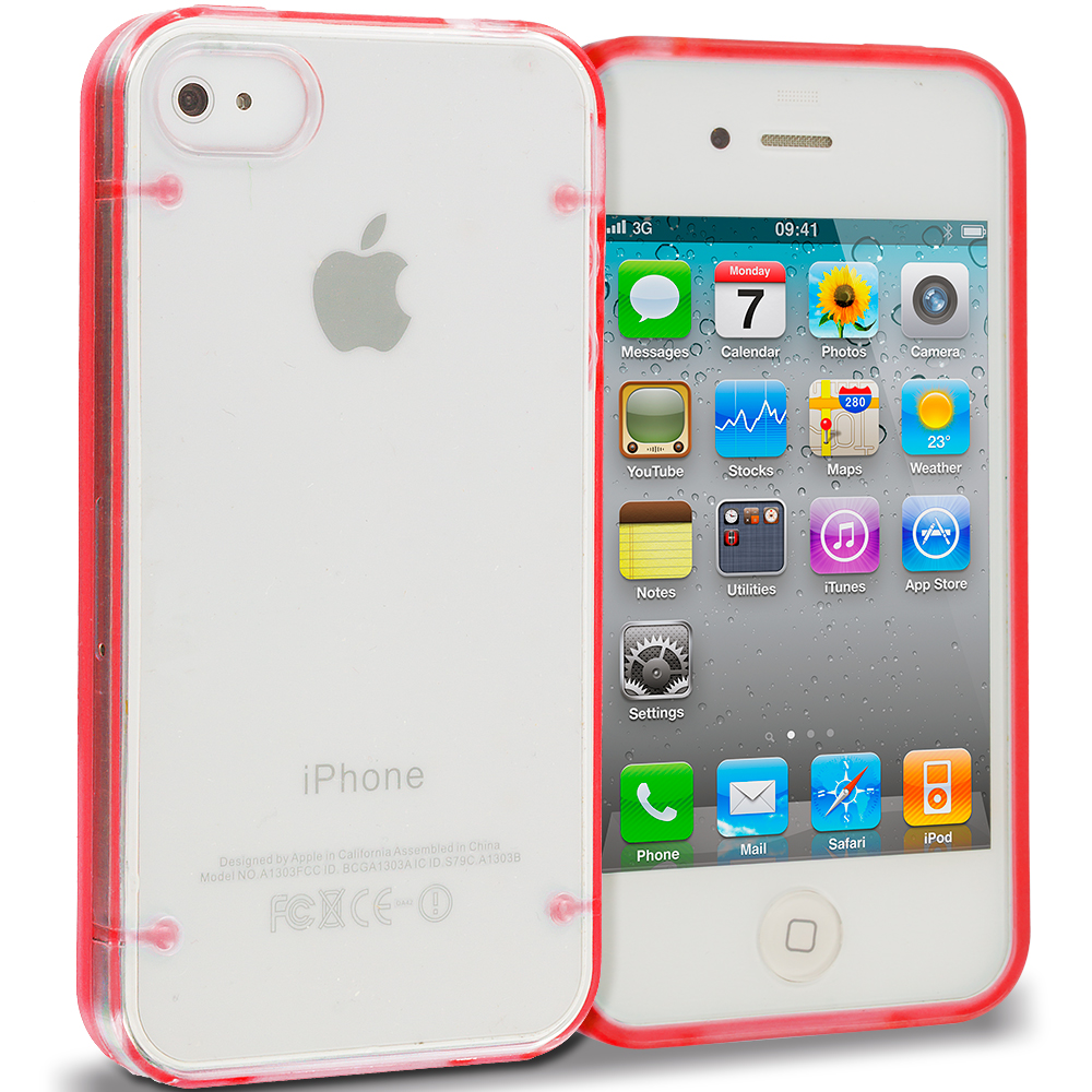 Apple iPhone 4 / 4S Red Crystal Robot Hard TPU Case Cover