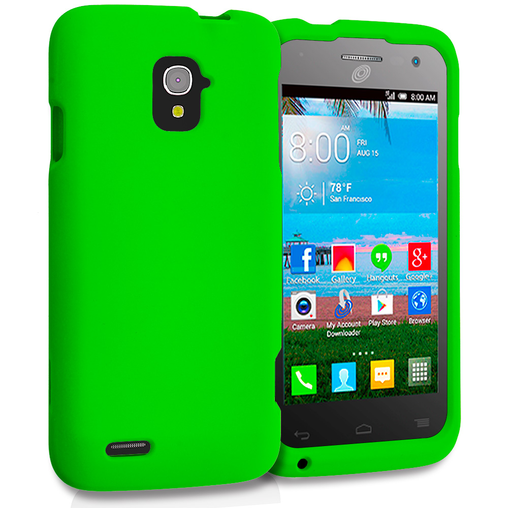 Alcatel One Touch Pop Star A845L Neon Green Hard Rubberized Case Cover