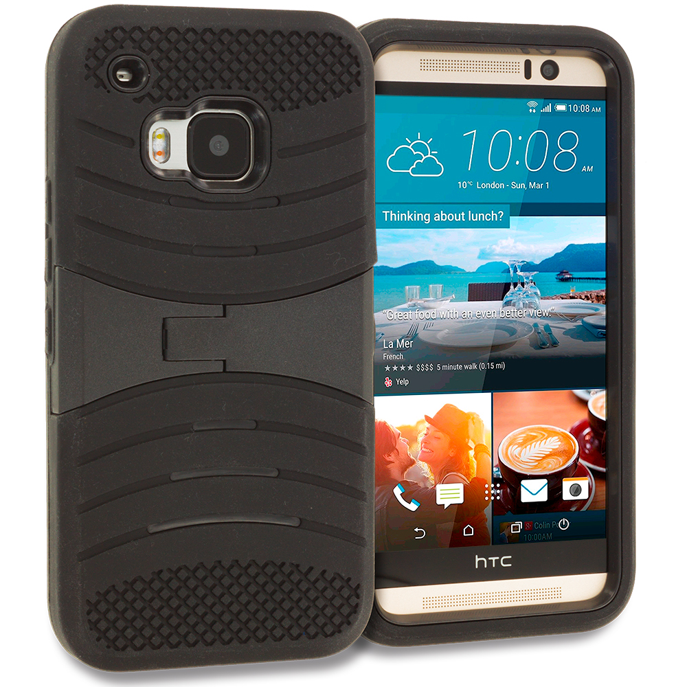 HTC One M9 Black / Black Hybrid Heavy Duty Shockproof Case Cover with Stand