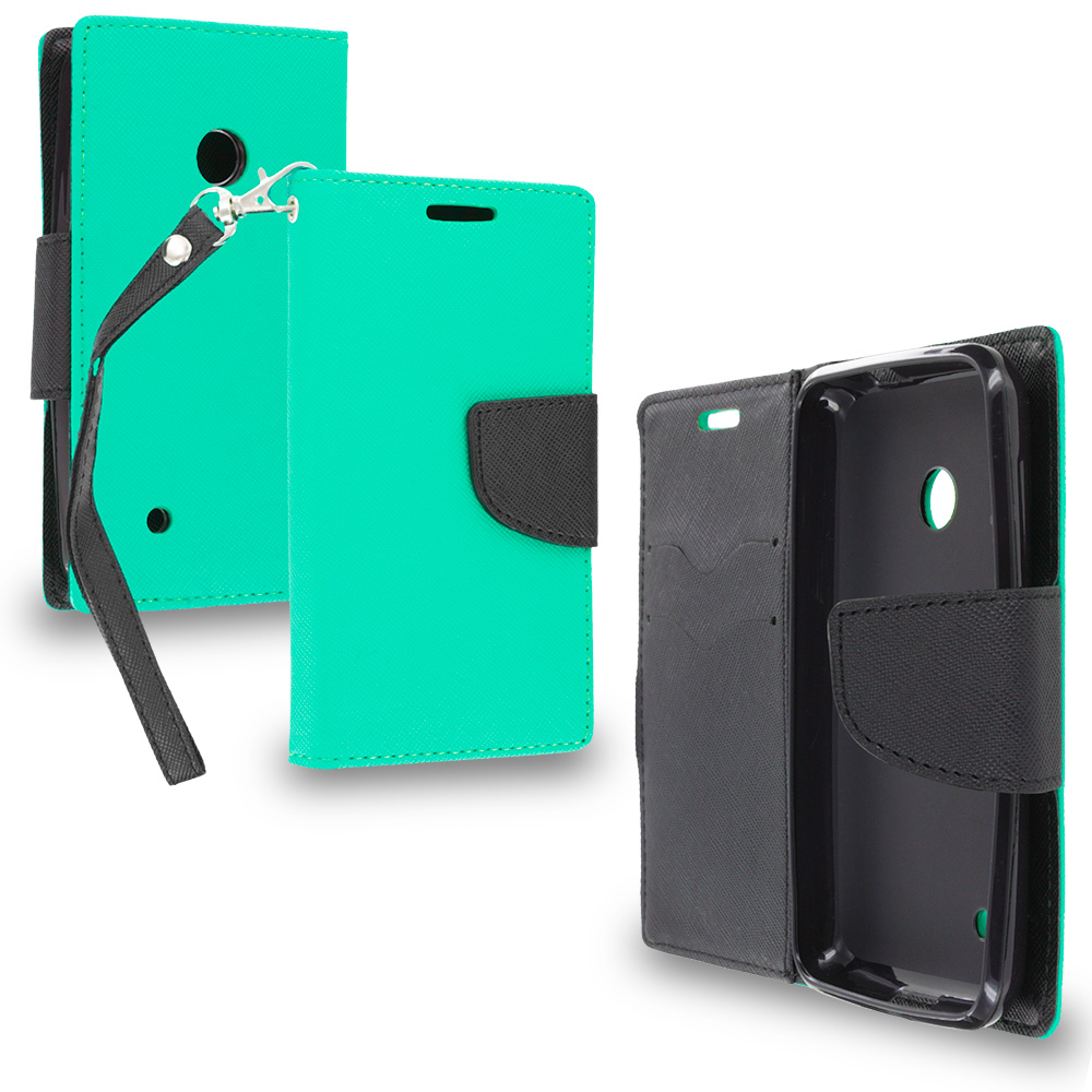Nokia Lumia 530 Mint Green / Black Leather Flip Wallet Pouch TPU Case Cover with ID Card Slots